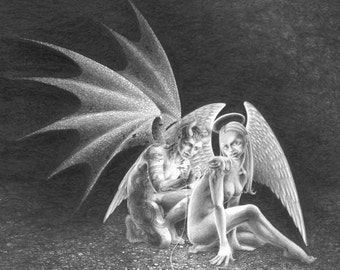 The Tattooist - art print of a demon and angel