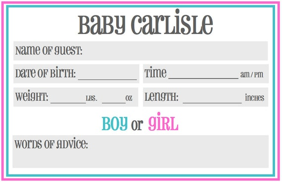 Printable Baby Shower Guessing / Prediction Cards: Gender