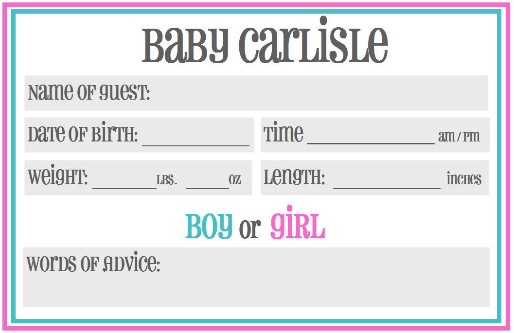 printable baby shower guessing prediction cards gender