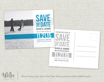 Block Party Cyan Save the Date Postcards – Digital Download