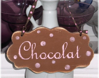 Chocolat Shabby Cottage Wall Decoration Brown Wood Sign Custom