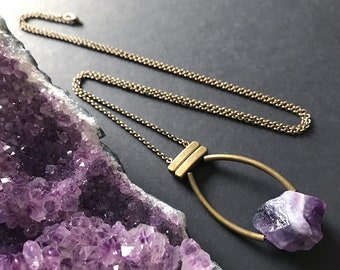 Raw Amethyst Pendant Necklace // Long Necklace // Natural Stone Necklace // Raw Stone Necklace // Purple Stone Necklace // Unique Necklace