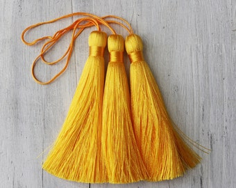 golden yellow tassels, bright yellow tassel, long tassels, mala tassels, boho tassels, 3.5 inches, A036