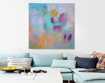 """Extra Large pastel square abstract 30x30"""" acrylic on canvas fine art giclee canvas prints,teal blue turquoise pink XXL canvas wall art"""