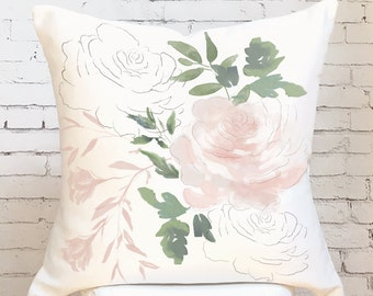 Pillow Cover Blush Rose Watercolor Floral