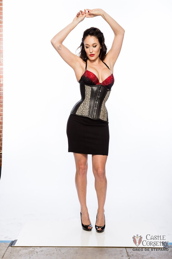 Leather Rockabilly Long Line Corset
