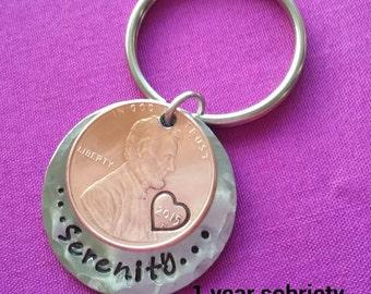 Custom Sobriety Penny Keychain, Serenity Keychain, Sobriety, Penny Keychain, Custom Penny, Stamped Penny, Sobriety Keychain, Sobriety gift