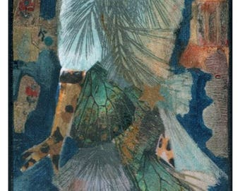 "Original painting, collage, ""Dream of flight"",Fashion art, fantasy art, mixed media"