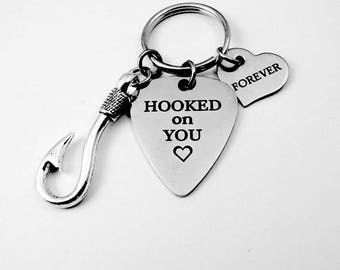 Anniversary Gift, Hooked On You Forever Keychain, Husband Gift, Wife Gift, Groom Gift, Fisherman Gift, Fishing