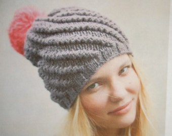 INSTANT DOWNLOAD PDF, Knitted Hat Pattern, Digital File Hat Pattern, Pom Pom Hat, Knit Winter Hat