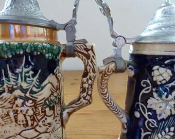 Pair of German Lidded Beer Steins, Small Porcelain Beer Jugs, Breweriana, Barware 1117024-457