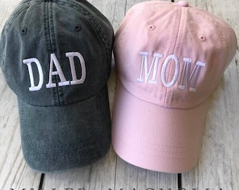 Dad and Mom hat | Family Hats | Monogram Ball Cap | Monogrammed Hat | Monogram Cap | Monogram Hat | Monogrammed Cap