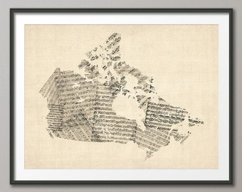 Canada Old Sheet Music Map, Art Print (550)