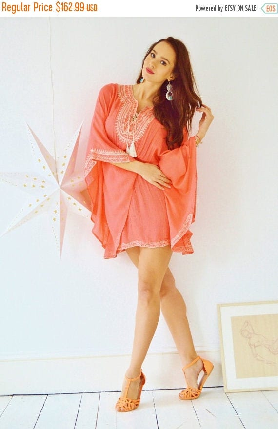 KAFTAN 20% SALE/ Salmon Pink Embroidery Resort Tunic Cover up-perfect for birthday gifts, holiday wear, beachwear, beach wedding, maternity,