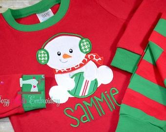 Christmas Pajamas, Christmas PJ, Holiday Pajamas, Holiday PJ, Applique, Embroidery, Snowman Pajama, Snowman PJ, Girl Boy Pajama
