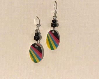 Bold Stripes Mini  Oval Earrings