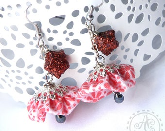 Earrings Bohemian fabric yoyo was salmon