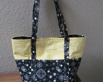 Yellow and Black Bandana Print Tote Bag
