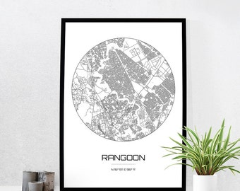 Rangoon Map Print - City Map Art of Rangoon Myanmar Poster - Coordinates Wall Art Gift - Travel Map - Office Home Decor