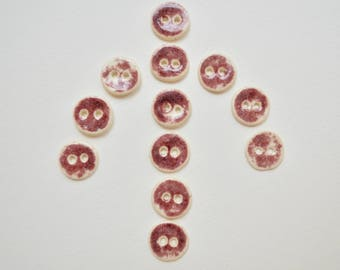Ceramic Buttons Handmade, Magenta, Mottled, Set of Twelve 3023