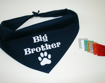 Dog BANDANA, Custom Dog Bandana, Baby Announcement, Big Brother, Personalized Dog Bandana, Dog Scarf, Navy Blue, Glitter Vinyl