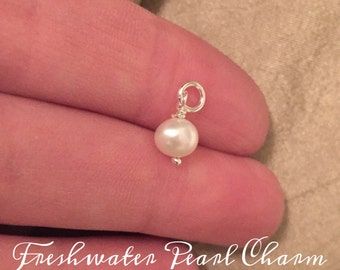 freshwater pearl charm Ivory Pearl 6mm sterling silver wrapped pearls - Imprinted Memories necklace pearl charm pearl necklace Fresh Water