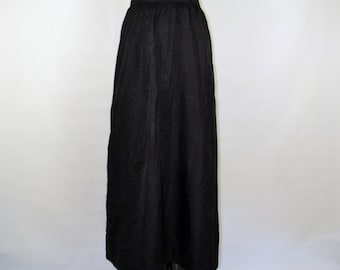 1970s Black Taffeta Maxi Skirt by The Wilroy Traveller, Brownstone Studio