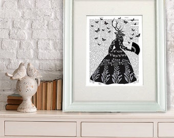 The Black Deer Print - Deer in black dress Anthropomorphic print surreal animal print whimsical print black and white art decor silhouette