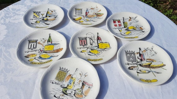 & GIEN French cheese plates Set of 6 Munster Roquefort