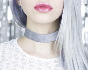 Silver Grey Velvet Wide Choker - Necklace
