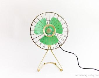 Jahrgang Electric Fan Cyan Kunststoff klingen / Chrom Metall-Käfig / elektrische Lüfter 70er Jahre