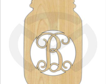 Mason Jar - 01663C- Any Initial, Monogram Door Hanger Unfinished Wood Laser Cutout, Home Decor, Script, Southern Charm Decor