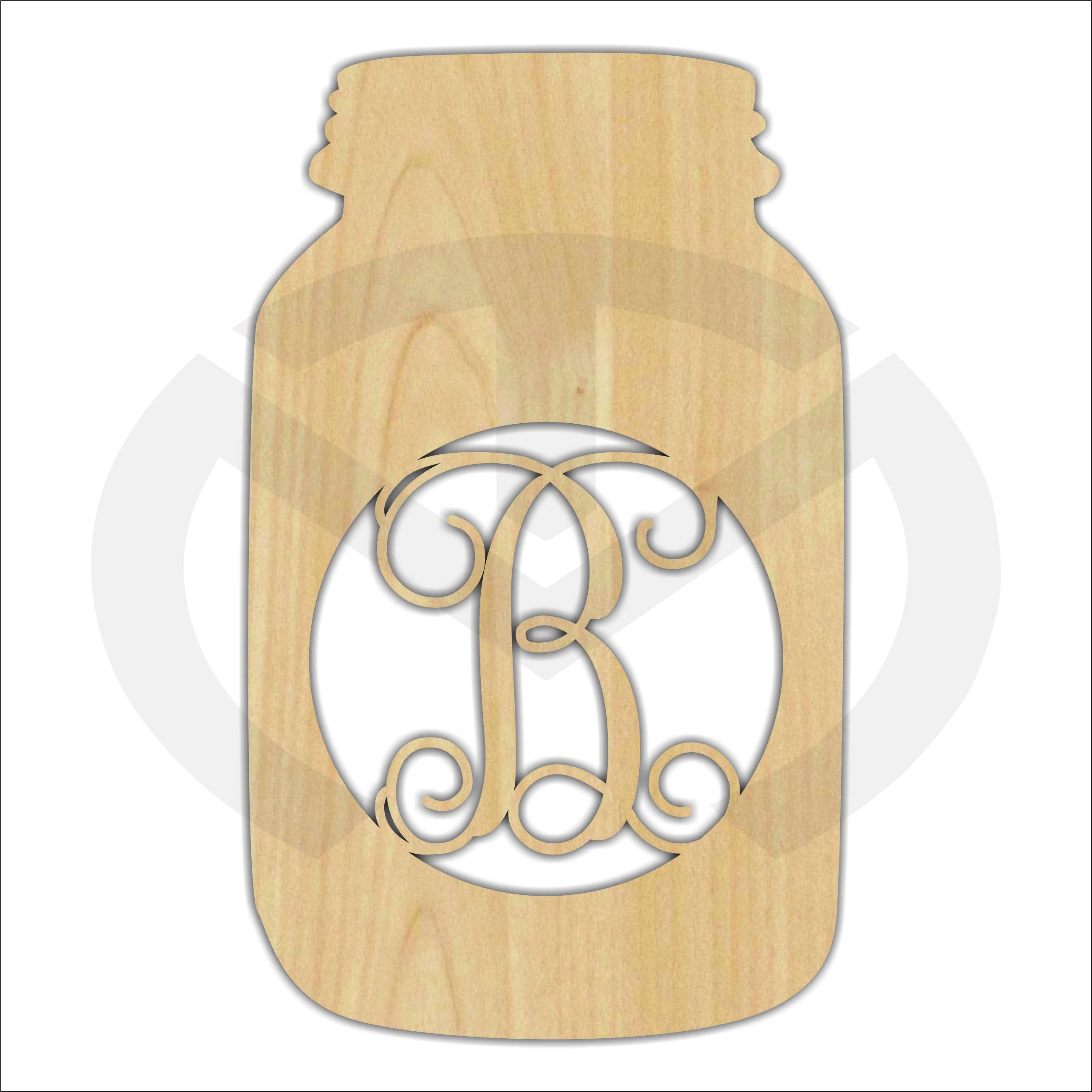 Mason Jar 01663C Any Initial Monogram Door Hanger