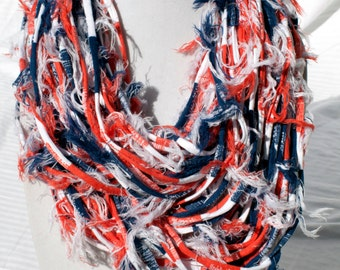 Red Multi Color Fabric Necklace/ Scarf, Easy to Wear