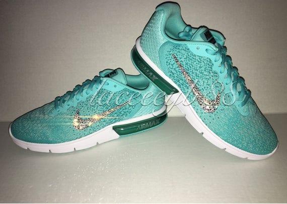 Items similar to Bling Swarovski Nike Air Max Sequent 2 Aurora Green