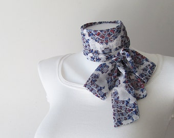 "Blue White Skinny Scarf, 57""x2"",Floral Chiffon, Long Thin Scarf with Angled Ends, Neck Tie, Headband, Narrow Scarf, Spring Summer Fashion"