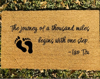 A journey of a thousand miles... Welcome Mat | Lao Tzu Quote Welcome Mat | Custom Decor | Housewarming Gift | Customized Gift | Home Decor