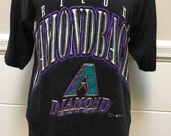 Vintage Retro Men's 90's Starter Arizona Diamondbacks Baseball Jersey Green Black Purple MLB Throwback Large 2cAs8K