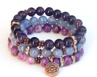 Stacking bracelets, boho bracelet set, amethyst bracelet, angelite bracelet, sugilite bracelet,gemstone bracelet set, charm bracelets