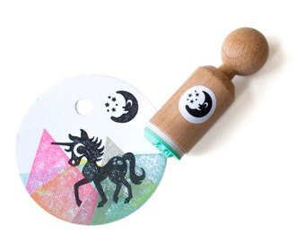 Moon Mini Stamp, Little moon stamp with stars, moon ink stamp, moon rubber stamp, Moon and stars stamp, smiling moon stamp