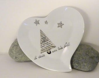 Christmas in black and white, personalized plate