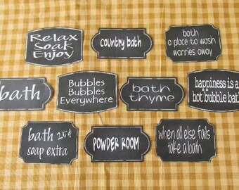 Bath Chalkboard Style Sticky Labels