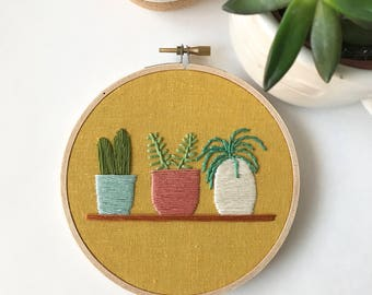 houseplants embroidery art