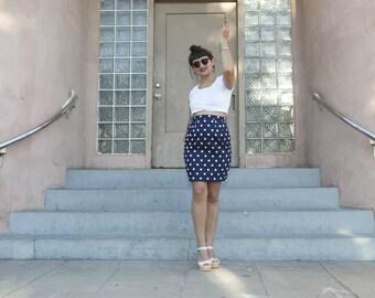 polka dot skirt - vintage 80s navy blue white nautical pencil tight bodycon retro short mini high waisted pinup mod retro hipster xs small