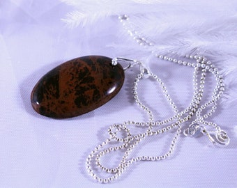 Necklace, Mahogany Obsidian Necklace, Mahogany Obsidian Pendant Necklace on Sterling Silver Ball Chain w/ Sterling Silver Ball Bail