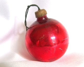 Vintage Paper Capped Red Christmas Holiday Ornament