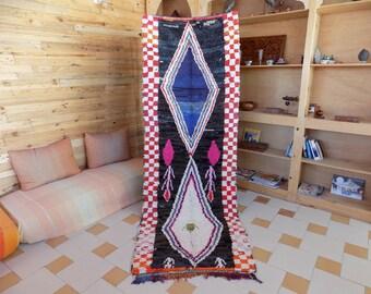 Moroccan  Boucherouite/ runner rag rug