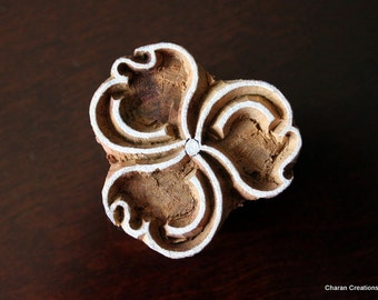 Wood Block Stamp, Tjaps, Indian Wood Stamp, Pottery Stamp, Textile Stamp, Hand Carved - Stylized Flower
