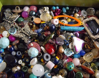 Small Jewelry Making Beads And Components, Glass Cabochons Lot
