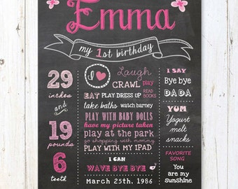 Hot pink 1st birthday chalkboard sign - First birthday poster - Butterfly theme - DIGITAL FILE!